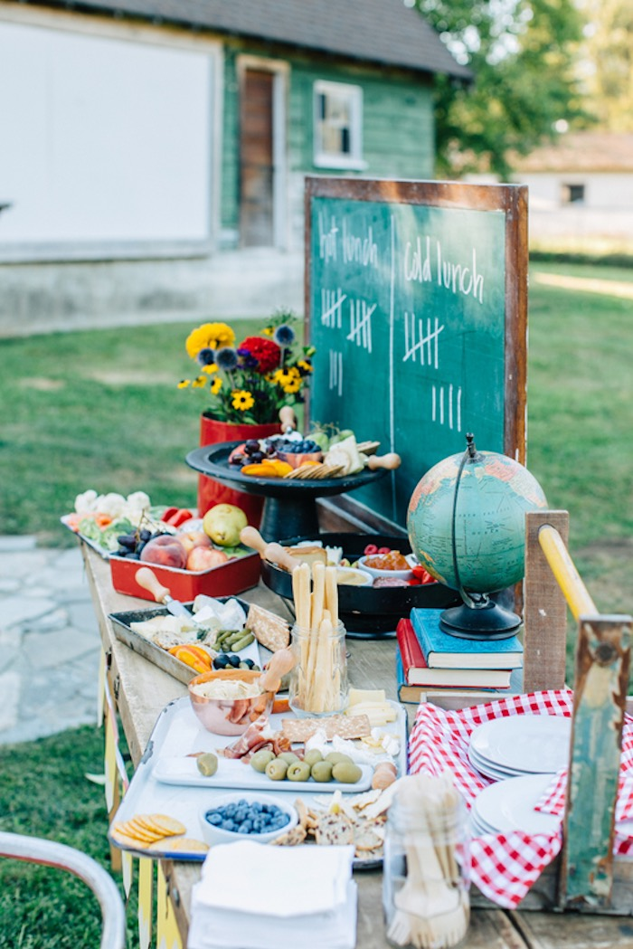 Lunch + food table from a How to Host a Back to School Party on Kara's Party Ideas | KarasPartyIdeas.com (17)
