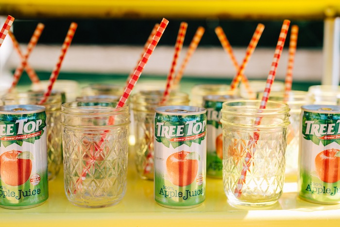 Tree Top apple juice drinks + glass drink jars from a How to Host a Back to School Party on Kara's Party Ideas | KarasPartyIdeas.com (62)