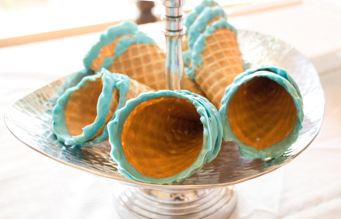 Blue rimmed waffle cones from an Ice Cream Social Gender Reveal Party on Kara's Party Ideas | KarasPartyIdeas.com (14)