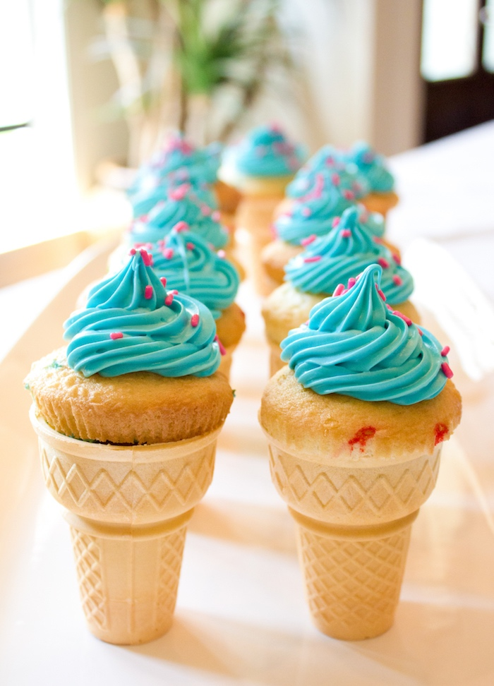 Blue ice cream cone cupcakes from an Ice Cream Social Gender Reveal Party on Kara's Party Ideas   KarasPartyIdeas.com (13)