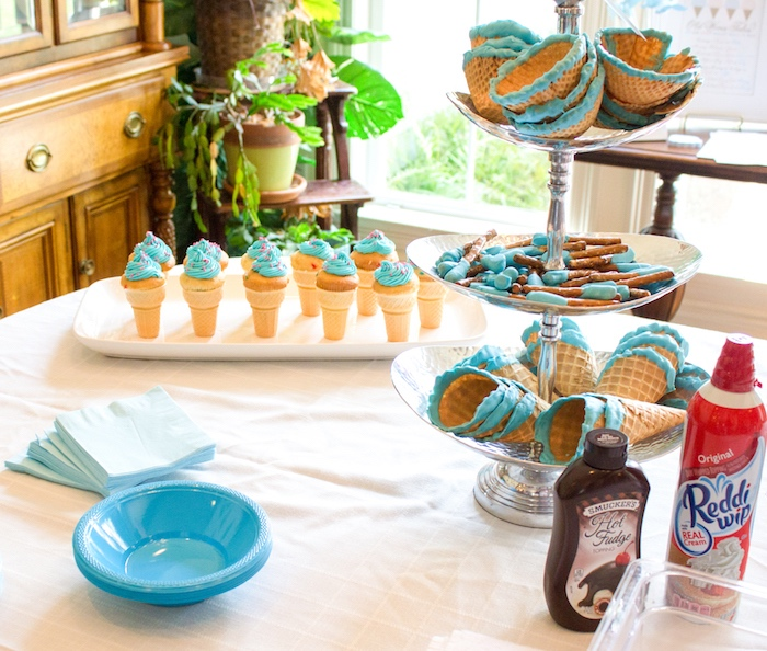 Team boy- sweets, treats & partyware from an Ice Cream Social Gender Reveal Party on Kara's Party Ideas | KarasPartyIdeas.com (11)