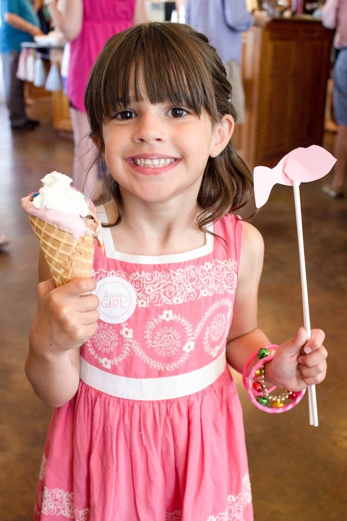 Little girl on team girl from an Ice Cream Social Gender Reveal Party on Kara's Party Ideas | KarasPartyIdeas.com (7)