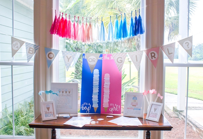 Gender reveal guess table from an Ice Cream Social Gender Reveal Party on Kara's Party Ideas   KarasPartyIdeas.com (3)