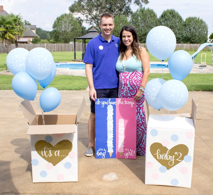 gender reveal from an ice cream social gender reveal party on karas party ideas karaspartyideas