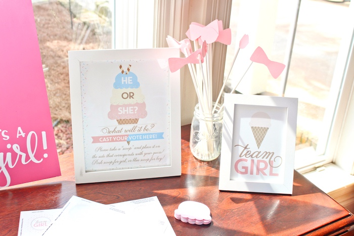 Team girl- props + printables from an Ice Cream Social Gender Reveal Party on Kara's Party Ideas | KarasPartyIdeas.com (22)