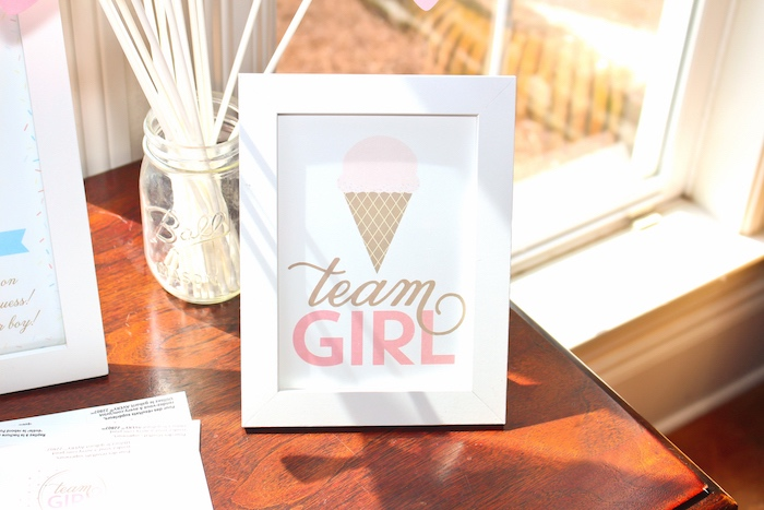 Team Girl ice cream cone print from an Ice Cream Social Gender Reveal Party on Kara's Party Ideas | KarasPartyIdeas.com (21)