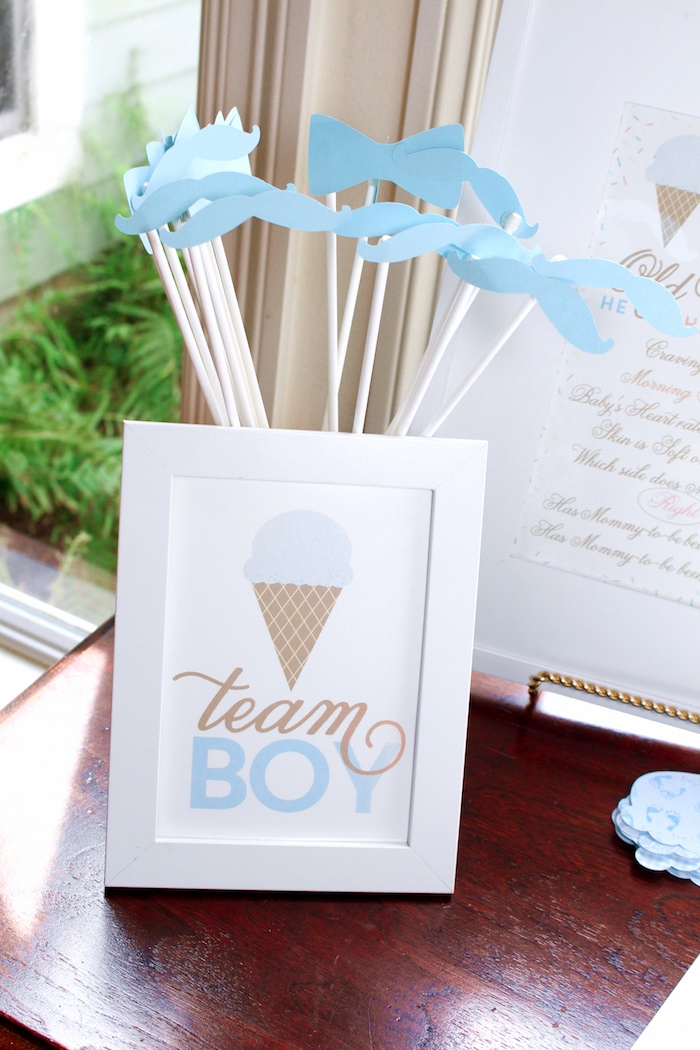 Team boy- props + stationery from an Ice Cream Social Gender Reveal Party on Kara's Party Ideas | KarasPartyIdeas.com (20)