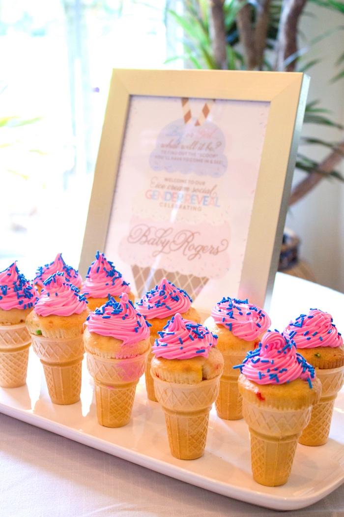 Kara 39 s party ideas ice cream social gender reveal party kara 39 s party ideas - Creme decoration cupcake ...