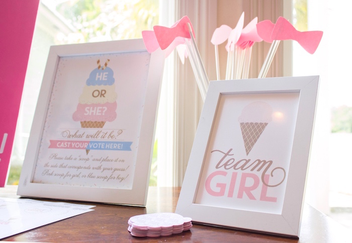 Team girl props + decor from an Ice Cream Social Gender Reveal Party on Kara's Party Ideas | KarasPartyIdeas.com (18)
