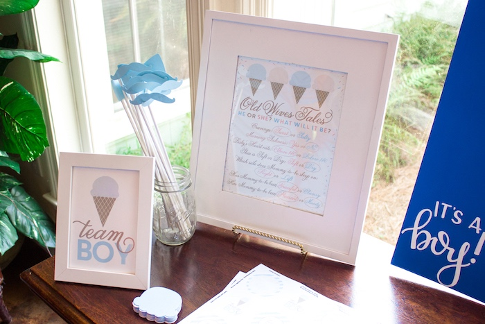 Team boy- props and guessing sheets from an Ice Cream Social Gender Reveal Party on Kara's Party Ideas | KarasPartyIdeas.com (17)