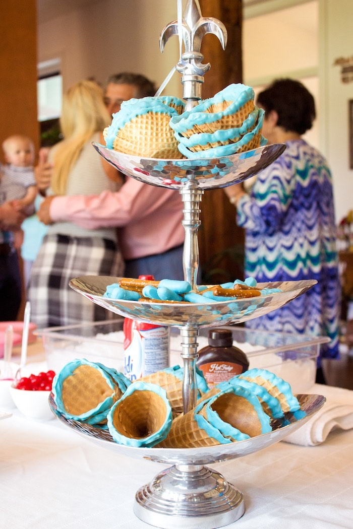 Blue rimmed/dipped waffle cones, bowls and pretzels from an Ice Cream Social Gender Reveal Party on Kara's Party Ideas   KarasPartyIdeas.com (15)