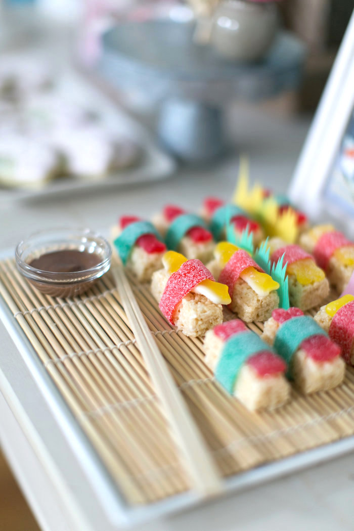 Sushi Dinner Party Ideas Part - 29: Rice Krispie Treat Sushi From A Japanese Sushi Chef Birthday Party On  Karau0027s Party Ideas |
