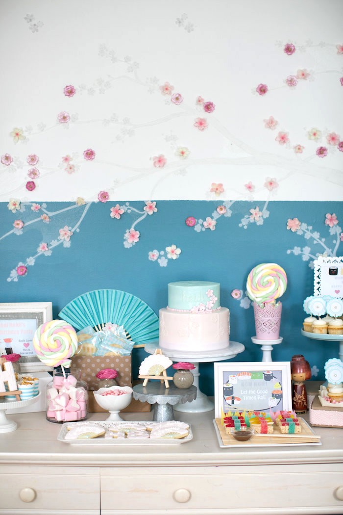 Sweet table from a Japanese Sushi Chef Birthday Party on Kara's Party Ideas | KarasPartyIdeas.com (26)