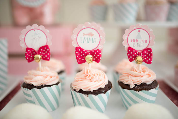 Cupcakes adorned with bows and bells from a Kitty Cat Birthday Party on Kara's Party Ideas | KarasPartyIdeas.com (24)