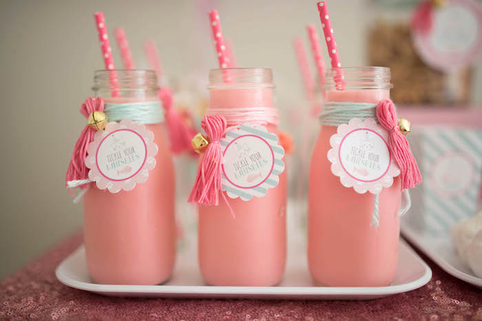 Strawberry milk bottles tied with yarn and bells from a Kitty Cat Birthday Party on Kara's Party Ideas | KarasPartyIdeas.com (20)