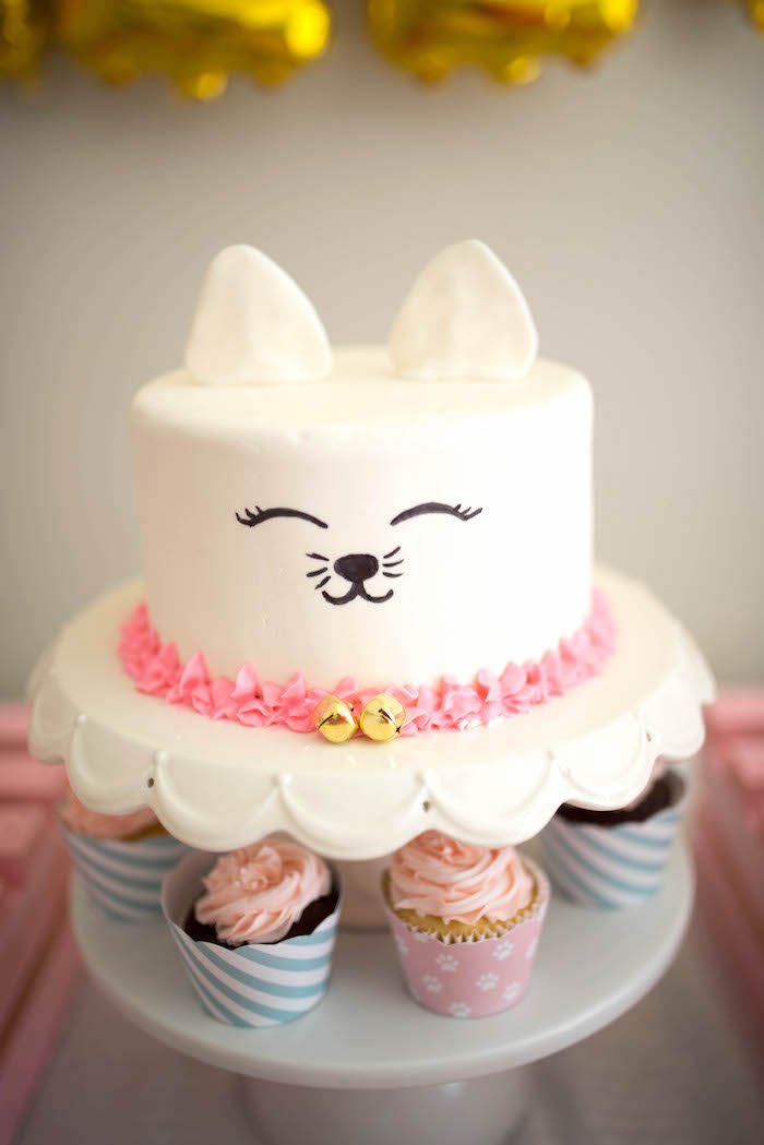 Kitty Cat Cake from a Kitty Cat Birthday Party on Kara's Party Ideas | KarasPartyIdeas.com (18)