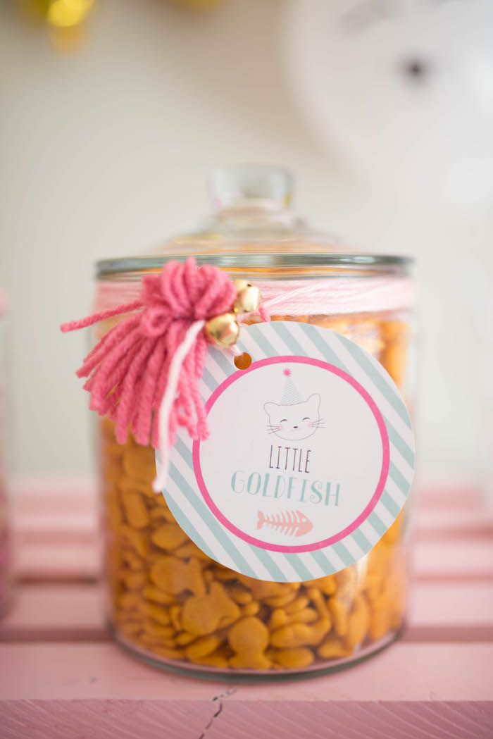 Goldfish snacks from a Kitty Cat Birthday Party on Kara's Party Ideas | KarasPartyIdeas.com (16)