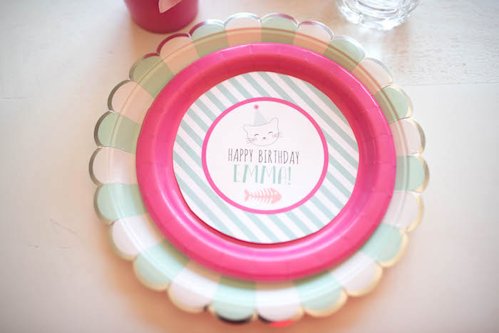 Plates + place setting from a Kitty Cat Birthday Party on Kara's Party Ideas | KarasPartyIdeas.com (15)