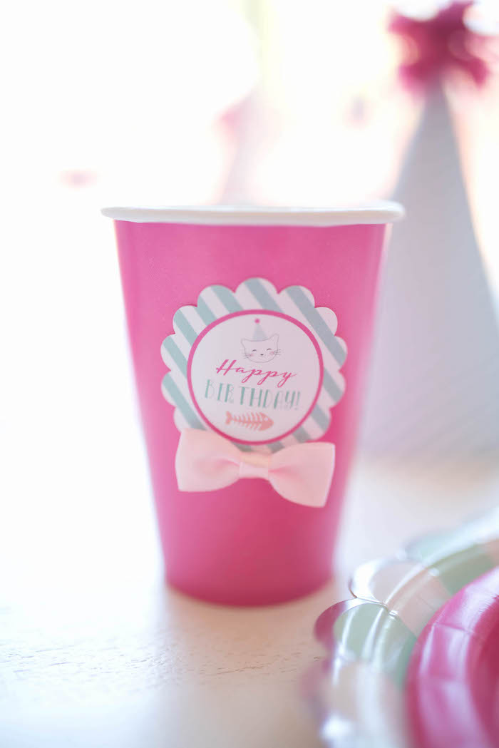 Paper cup adorned with a pink bow & custom tag from a Kitty Cat Birthday Party on Kara's Party Ideas | KarasPartyIdeas.com (14)
