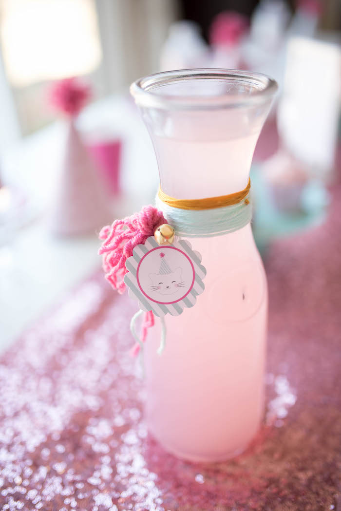 Glass drink jug + pitcher from a Kitty Cat Birthday Party on Kara's Party Ideas | KarasPartyIdeas.com (13)