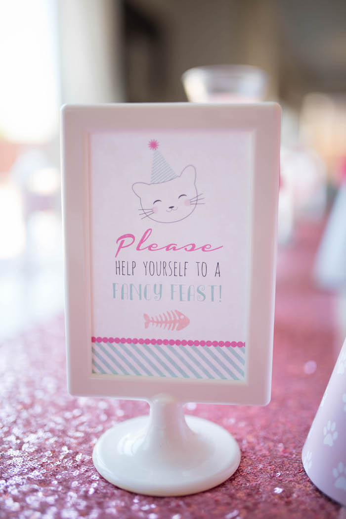 Kitty party sign from a Kitty Cat Birthday Party on Kara's Party Ideas | KarasPartyIdeas.com (12)