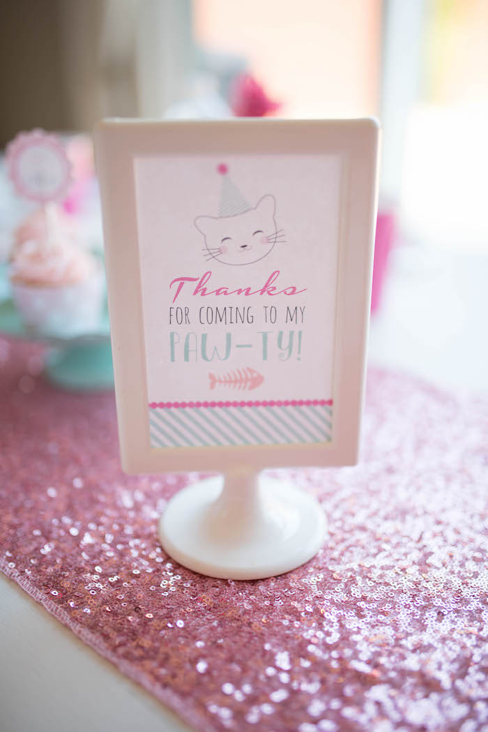 Thank you sign from a Kitty Cat Birthday Party on Kara's Party Ideas | KarasPartyIdeas.com (11)