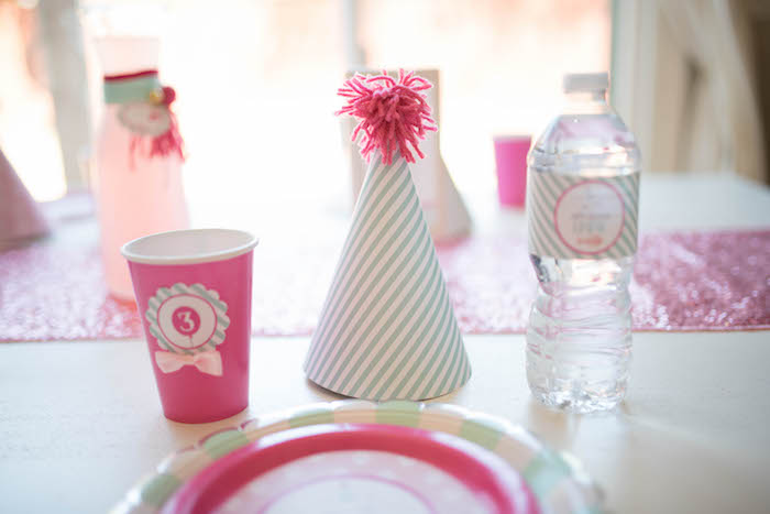 Yarn pom party hat + place setting from a Kitty Cat Birthday Party on Kara's Party Ideas | KarasPartyIdeas.com (10)