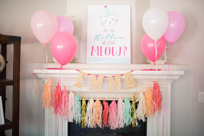 Bunting + decor from a Kitty Cat Birthday Party on Kara's Party Ideas | KarasPartyIdeas.com (9)