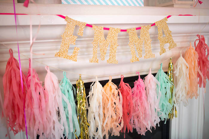 Glitter letter banner & tassel garland from a Kitty Cat Birthday Party on Kara's Party Ideas | KarasPartyIdeas.com (8)