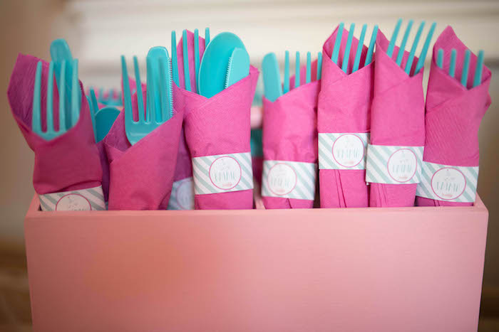 Pink + teal utensil packs from a Kitty Cat Birthday Party on Kara's Party Ideas | KarasPartyIdeas.com (6)