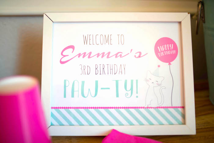 Cat-inspired welcome sign from a Kitty Cat Birthday Party on Kara's Party Ideas | KarasPartyIdeas.com (5)