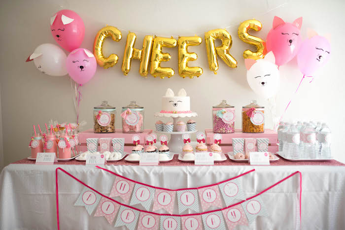 Dessert table from a Kitty Cat Birthday Party on Kara's Party Ideas | KarasPartyIdeas.com (4)