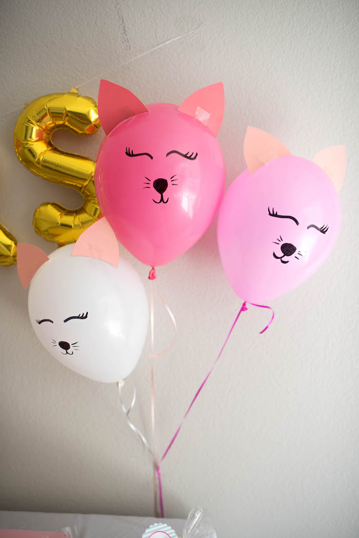 Kitty cat balloons from a Kitty Cat Birthday Party on Kara's Party Ideas | KarasPartyIdeas.com (31)