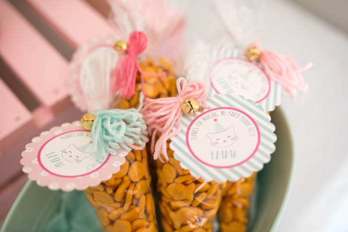 Yarn and bell favor tags from a Kitty Cat Birthday Party on Kara's Party Ideas | KarasPartyIdeas.com (30)