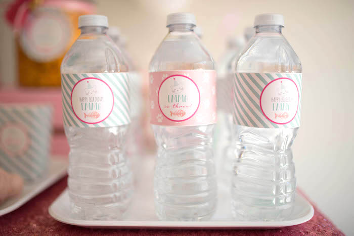 Water bottles from a Kitty Cat Birthday Party on Kara's Party Ideas | KarasPartyIdeas.com (28)