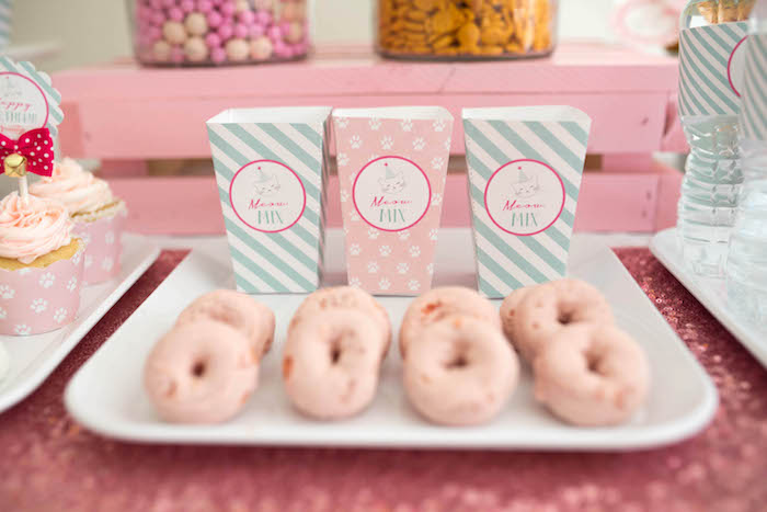 Mini pink donuts from a Kitty Cat Birthday Party on Kara's Party Ideas | KarasPartyIdeas.com (27)
