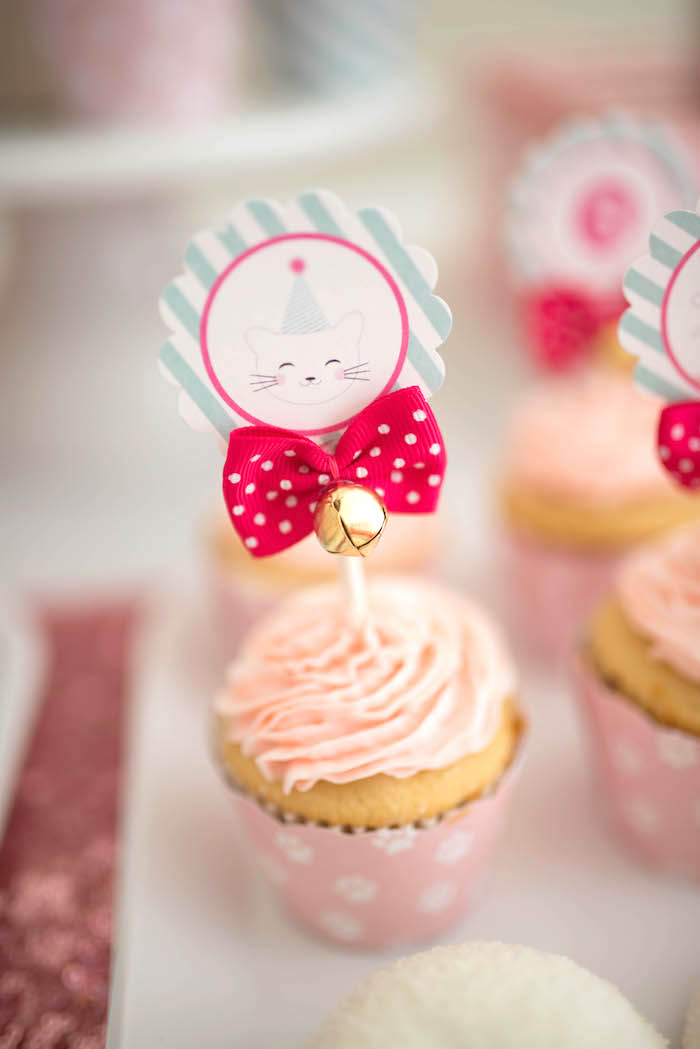 Kitty cat cupcake from a Kitty Cat Birthday Party on Kara's Party Ideas | KarasPartyIdeas.com (25)