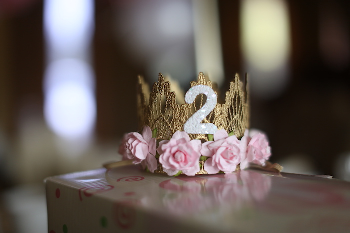 Custom gold lace crown from a Little Bunny Birthday Party on Kara's Party Ideas | KarasPartyIdeas.com (12)