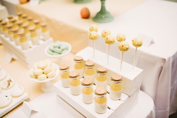 Milk bottles + chick cake pops from a Little Farm Birthday Party on Kara's Party Ideas | KarasPartyIdeas.com (29)