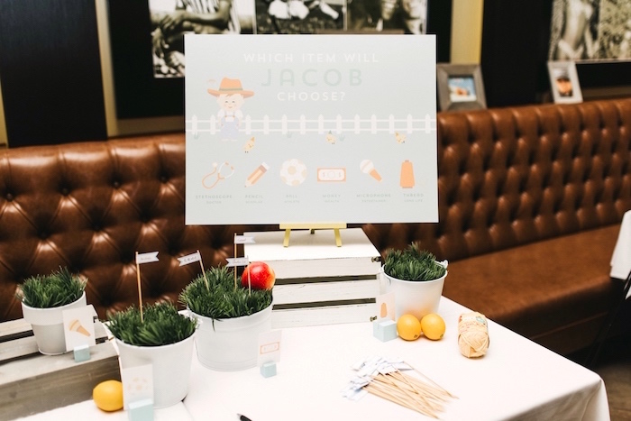 Korean Dohl guessing table from a Little Farm Birthday Party on Kara's Party Ideas | KarasPartyIdeas.com (25)