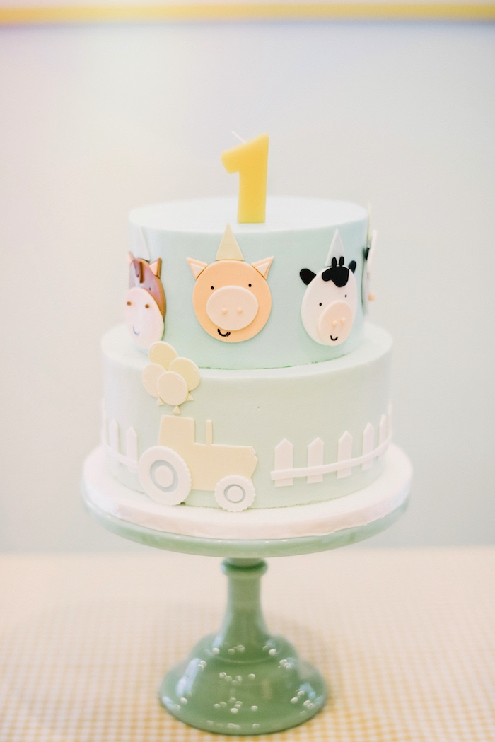 Farm cake from a Little Farm Birthday Party on Kara's Party Ideas | KarasPartyIdeas.com (14)