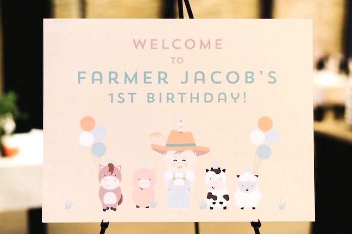 Welcome sign from a Little Farm Birthday Party on Kara's Party Ideas | KarasPartyIdeas.com (40)