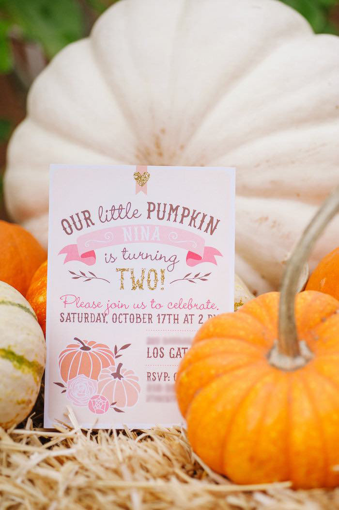 "Invitation from a ""Little Pumpkin"" Fall Picnic Birthday Party on Kara's Party Ideas | KarasPartyIdeas.com"