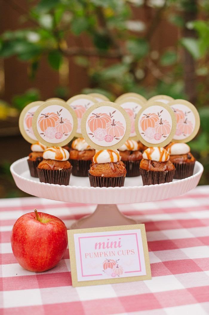 "Mini pumpkin cups + cupcakes from a ""Little Pumpkin"" Fall Picnic Birthday Party on Kara's Party Ideas   KarasPartyIdeas.com (22)"