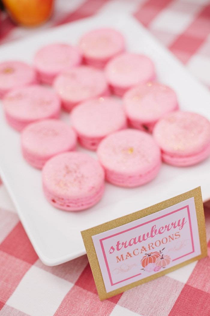 "Pink macarons from a ""Little Pumpkin"" Fall Picnic Birthday Party on Kara's Party Ideas 