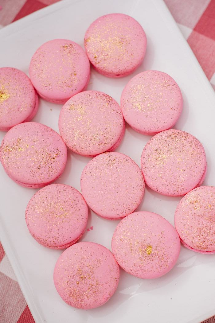 """Pink macarons from a """"Little Pumpkin"""" Fall Picnic Birthday Party on Kara's Party Ideas 