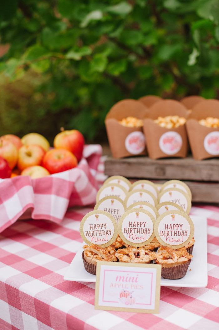 "Mini apple pies from a ""Little Pumpkin"" Fall Picnic Birthday Party on Kara's Party Ideas 