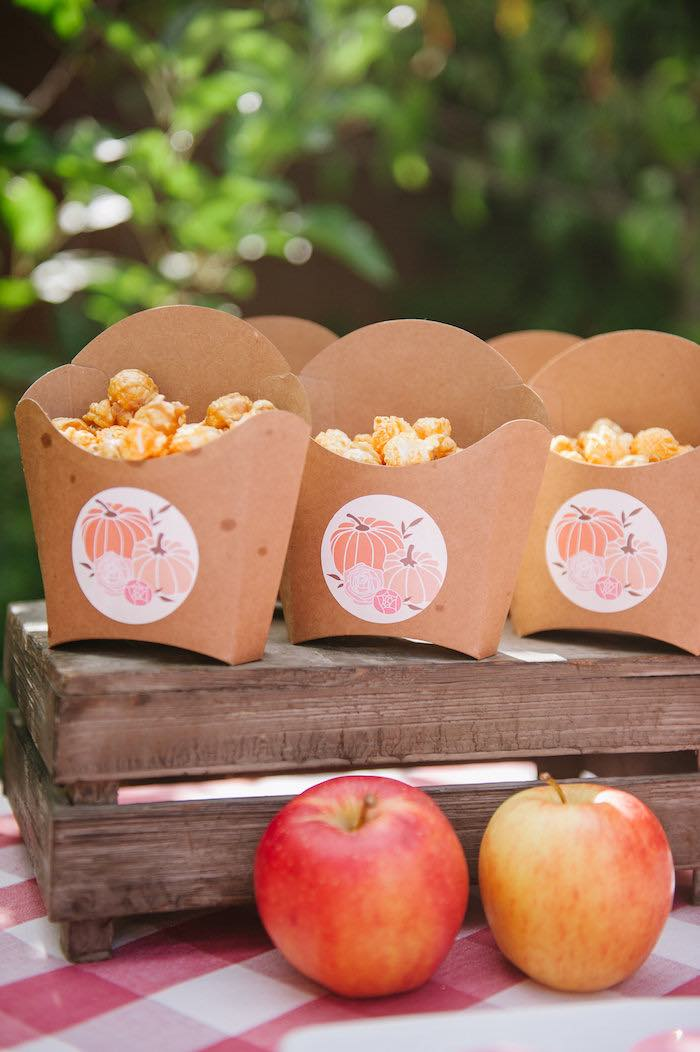 "Popcorn boxes from a ""Little Pumpkin"" Fall Picnic Birthday Party on Kara's Party Ideas 