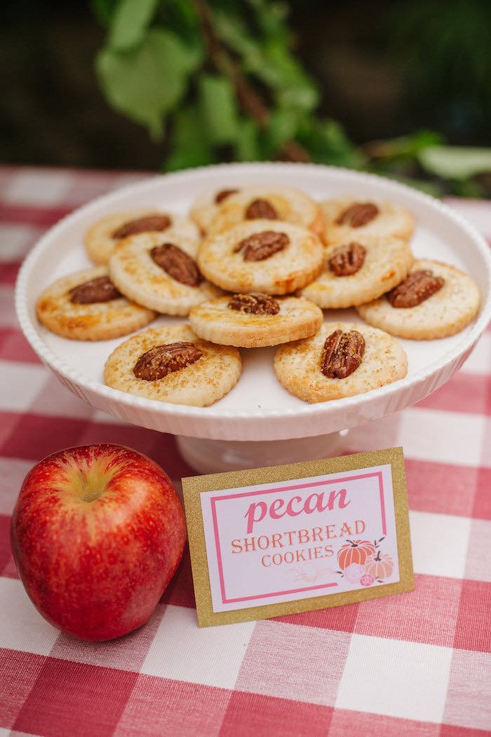 "Pecan Shortbread Cookies from a ""Little Pumpkin"" Fall Picnic Birthday Party on Kara's Party Ideas 