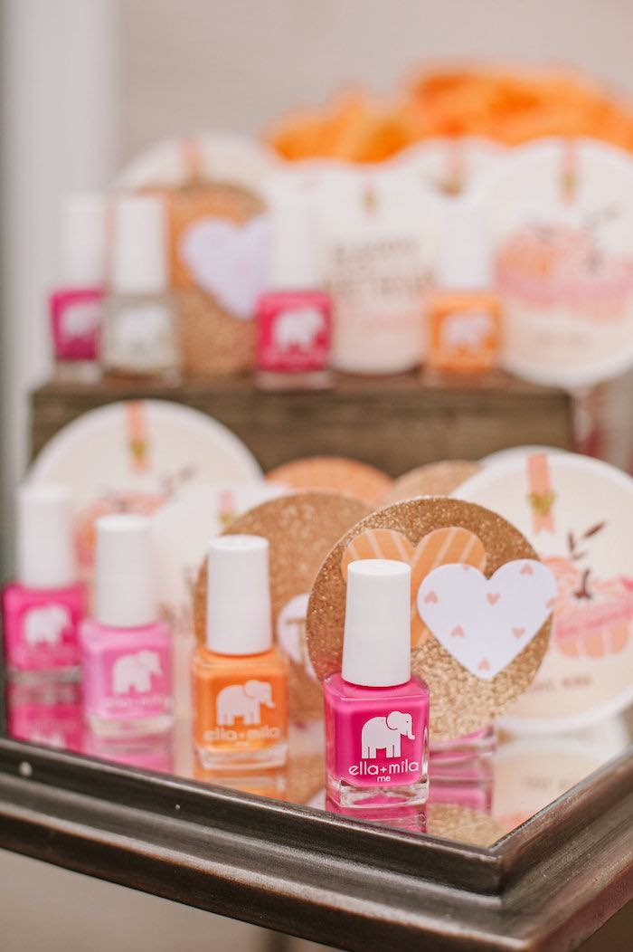 "Nail polish favors from a ""Little Pumpkin"" Fall Picnic Birthday Party on Kara's Party Ideas 
